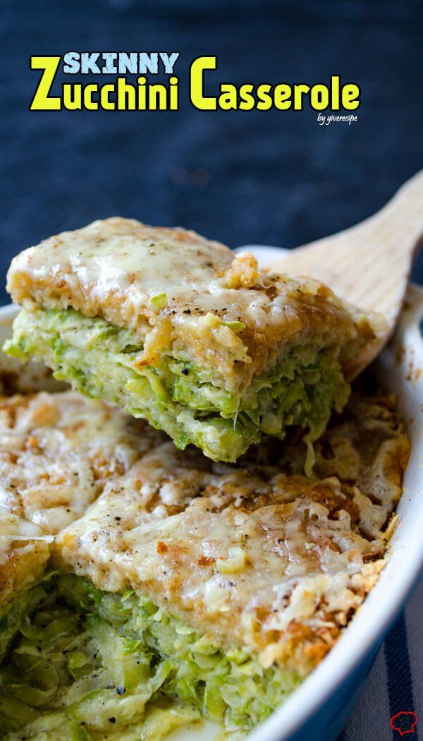 Skinny Zucchini Casserole is a skinny diet food but absolutely NOT BORING! Even zucchini haters will love this tasty casserole!