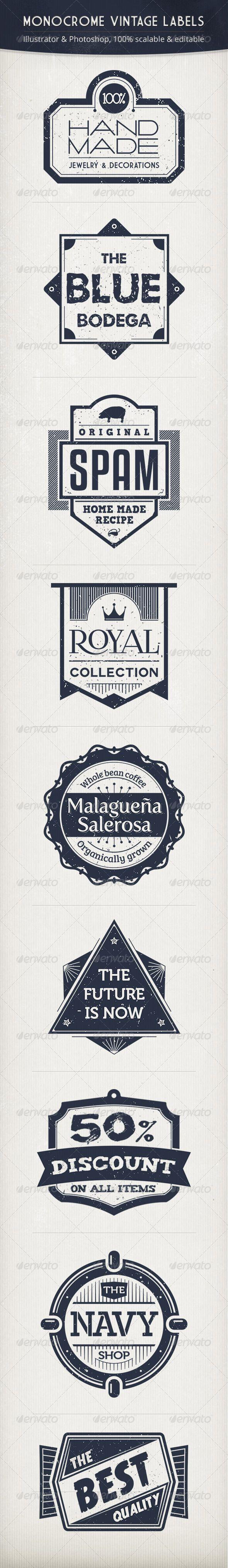 Monochrome Vintage Labels