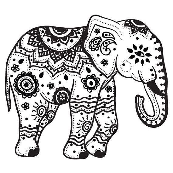 Mandala Indian Elephant Tattoo Stencil By