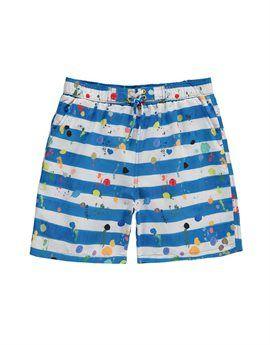 STELLA MCCARTNEY KIDS Blue and White Paint Splash Swim Short. Shop online: http://www.tilltwelve.com/en/eur/product/1087694/STELLA-McCARTNEY-KIDS-Blue-and-White-Paint-Splash-Swim-Short/
