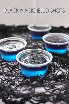These Black Magic Jell-O Shot beauties bring a little bit of Halloween magic. They're made with vodka-infused blue and purple Jell-O and dusted with black sugar.