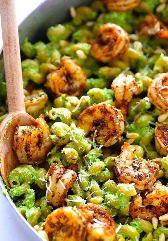 Simple & Luxurious: Spring Pesto Pasta with Blackened Shrimp
