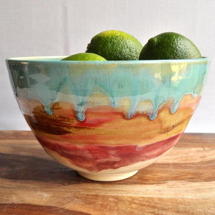 Ceramic Bowl - handmade noodle bowl dorm decor turquoise pottery bowl Turquoise Sunrise glaze. $34.00, via Etsy.