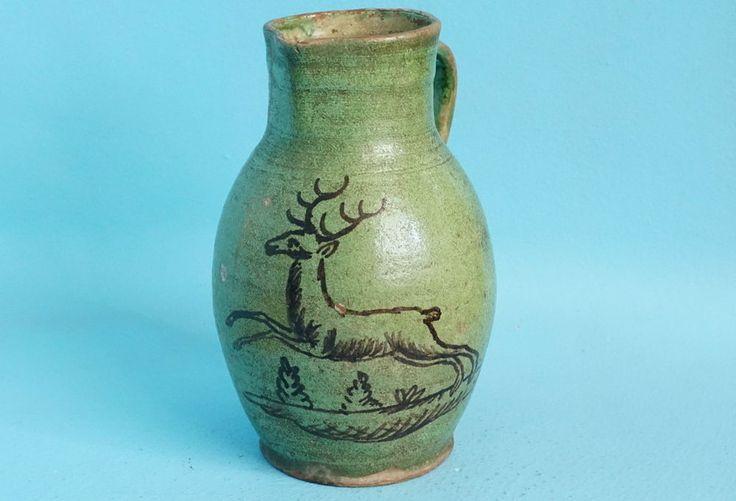 Antique German Folk Art Pottery HAFNER WARE Hunt Pitcher Jar Leaping Stag c1800s  | eBay