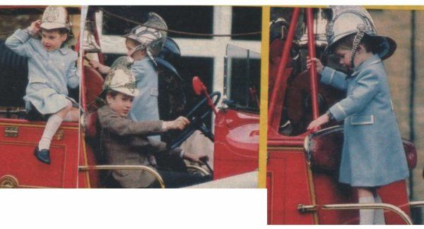 January 3, 1988: Prince William, aged 5, tries a fireman's helmet for size, atop a vintage Merryweather fire engine with Prince Harry and cousin, Peter Phillips during a photo call at Sandringham House, Norfolk, England.