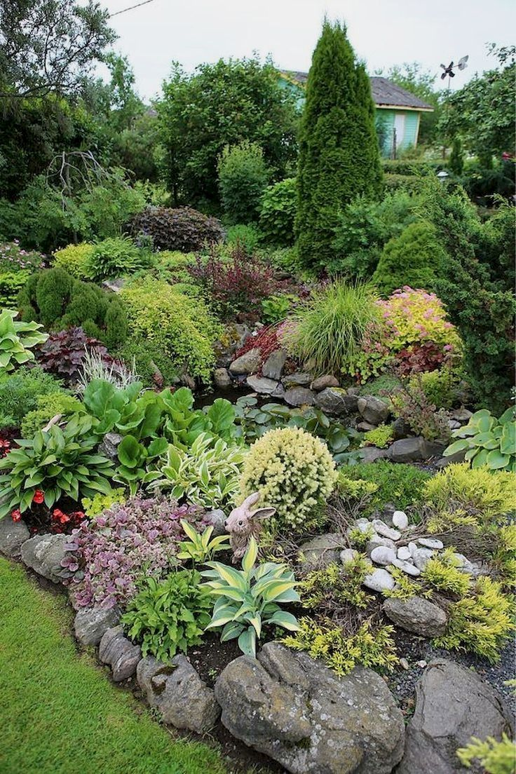 Rock Garden Design Ideas Vary In Sizes Types Of Green And Flowering Plants And Color Co Front Garden Landscape Rock Garden Design Backyard Landscaping Designs