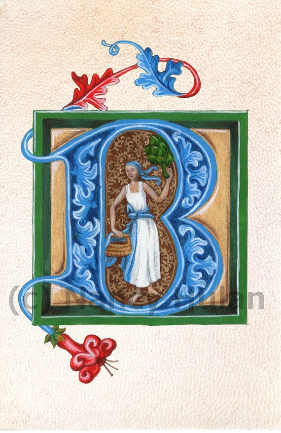 Medieval Illuminated Letter B, Alphabet Letter B, Painted Initial B, Medieval Alphabet, Renaissance Letter Fine Art Print
