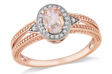 oooo so pretty!! 10K Rose Gold, Diamond and Morganite Ring, (.1 cttw,