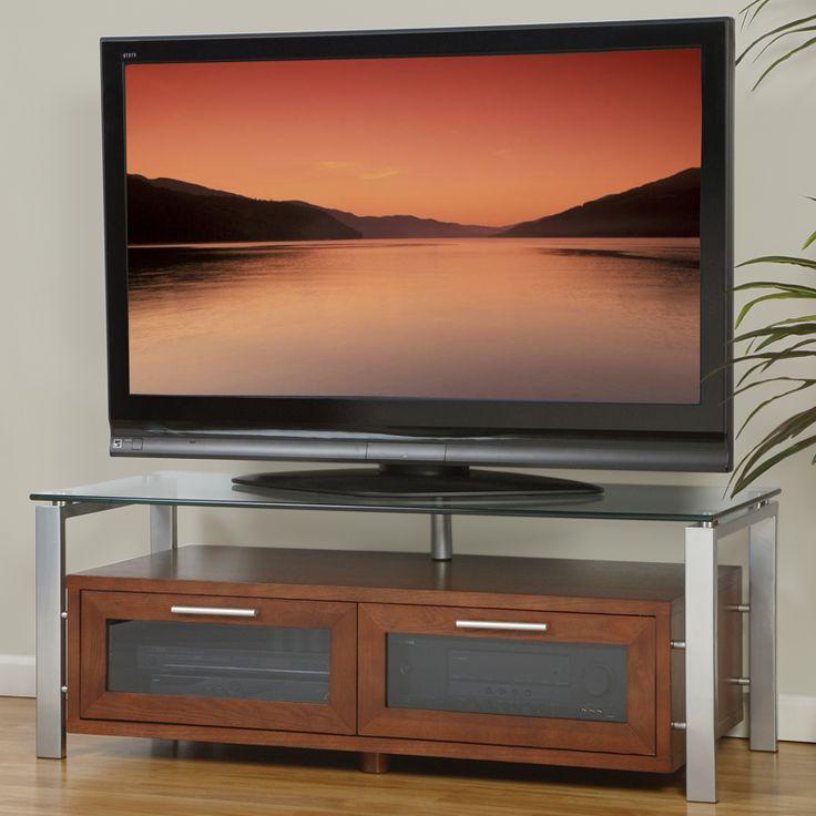 Plateau Decor 50 Tv Stand In Walnut Silver Frame Black Gl Dynamichome