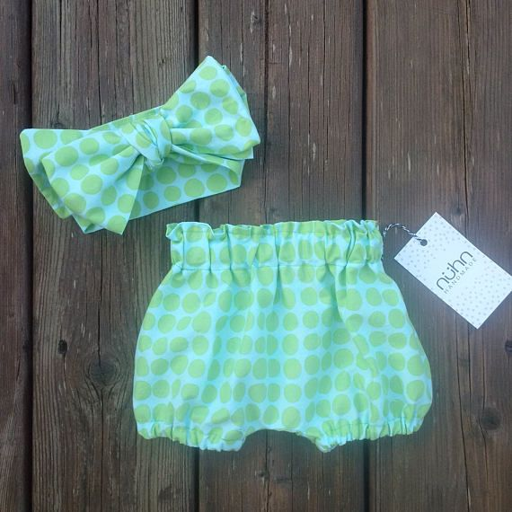 Baby girl bloomers and headwrap set  POLKA DOT   Diaper