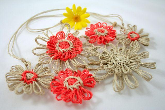 OrangeNaturalFLBib1 | Flickr - Photo Sharing!        #vintage    #flowerloom #weaving #craft