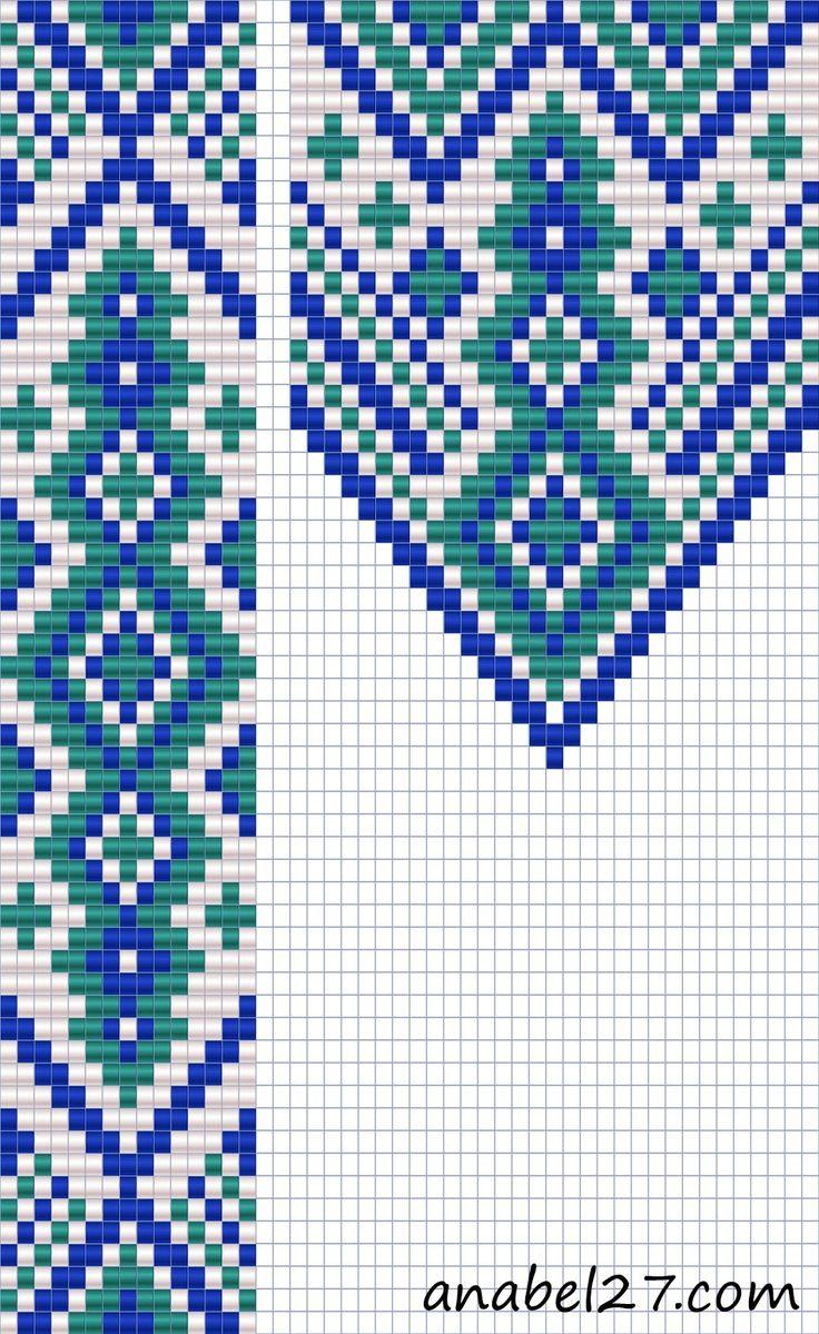Схема гердана - ткачество / гобеленовое плетение - loom  #beadwork free pattern  http://anabel-beadpatterns.blogspot.com/