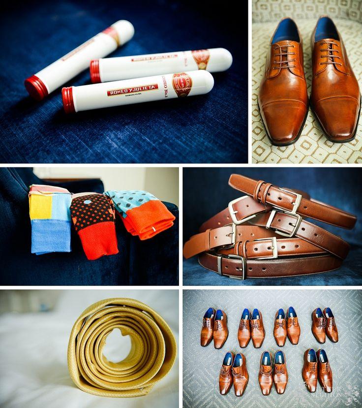 Groom and groomsmen getting ready details #wedding #vancouver #gettingready #details Belt | Socks | Tie | Cigars | Shoes http://www.butterstudios.ca