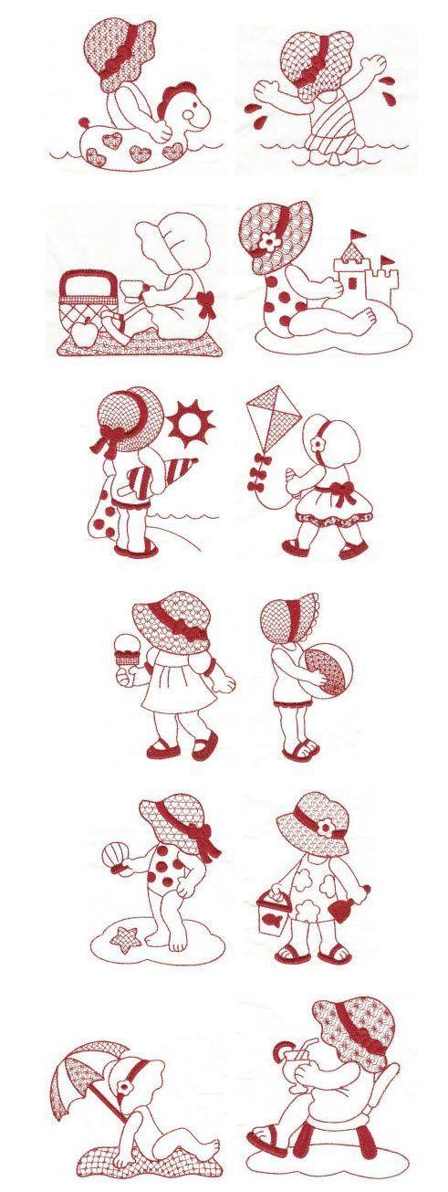 Embroidery | Free Machine Embroidery Designs | Summer Fun Sunbonnets Redwork by mysie.d.swart