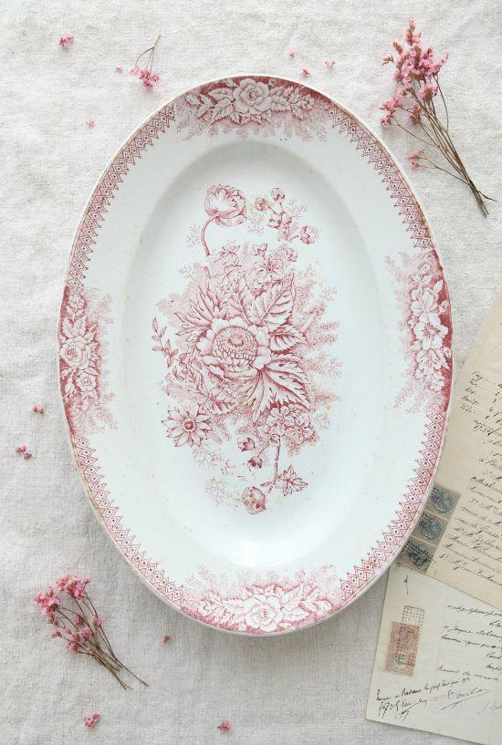 Vintage French Ironstone Floral Platter