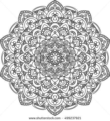 beautiful ornate vector mandala illustration monochrome vintage mandala ornament for coloring books - Pretty Pictures To Color