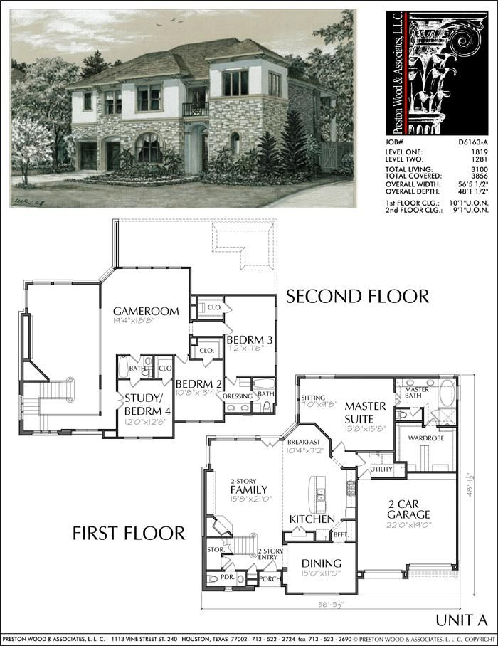 Two Story Patio Home Plan Ad6163 A House Plans House Blueprints Barn House Plans