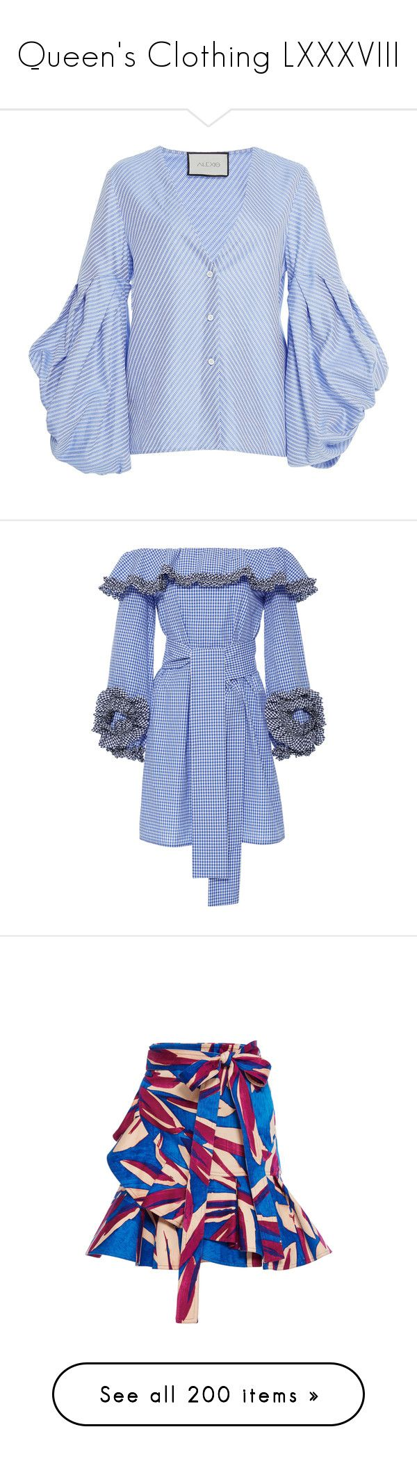 """Queen's Clothing LXXXVIII"" by ms-perry on Polyvore featuring tops, blue, blue top, v-neck top, balloon sleeve top, button down top, sleeve top, dresses, off shoulder cocktail dress и off shoulder dress"
