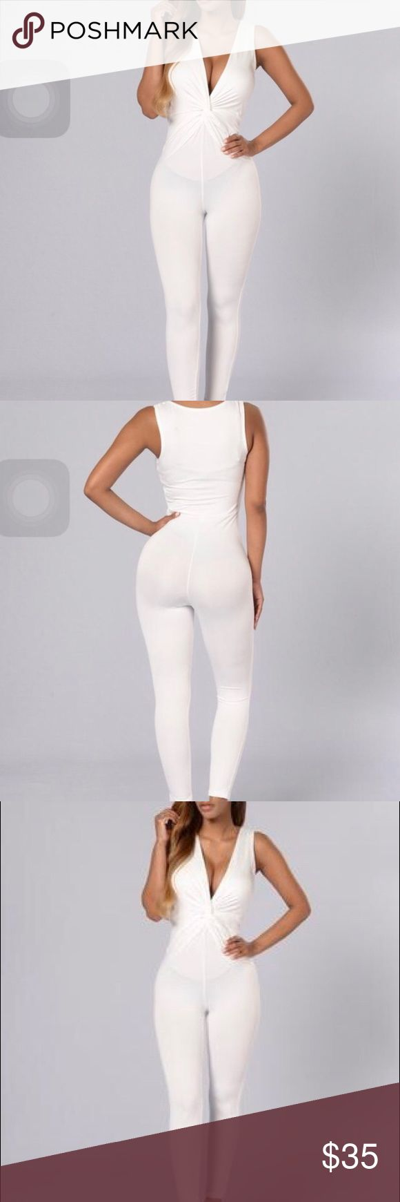 White jumpsuit (fashion nova) I got this jumpsuit for an all white party but I didn't end up wearing. Brand new with tags. Fashion Nova Pants Jumpsuits & Rompers