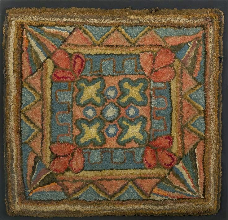 American Hooked Rug With Geometric Motifs Early Century