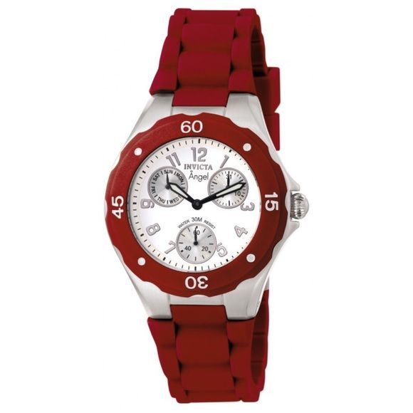 Invicta Angel Watch Invicta Angel women's watch in cranberry color⌚️ NWOT perfect condition, it has never been worn but the battery needs to be replaced. Water resistant 30 meters, comes with case. Price is negotiable, taking best offer!! Invicta Accessories Watches