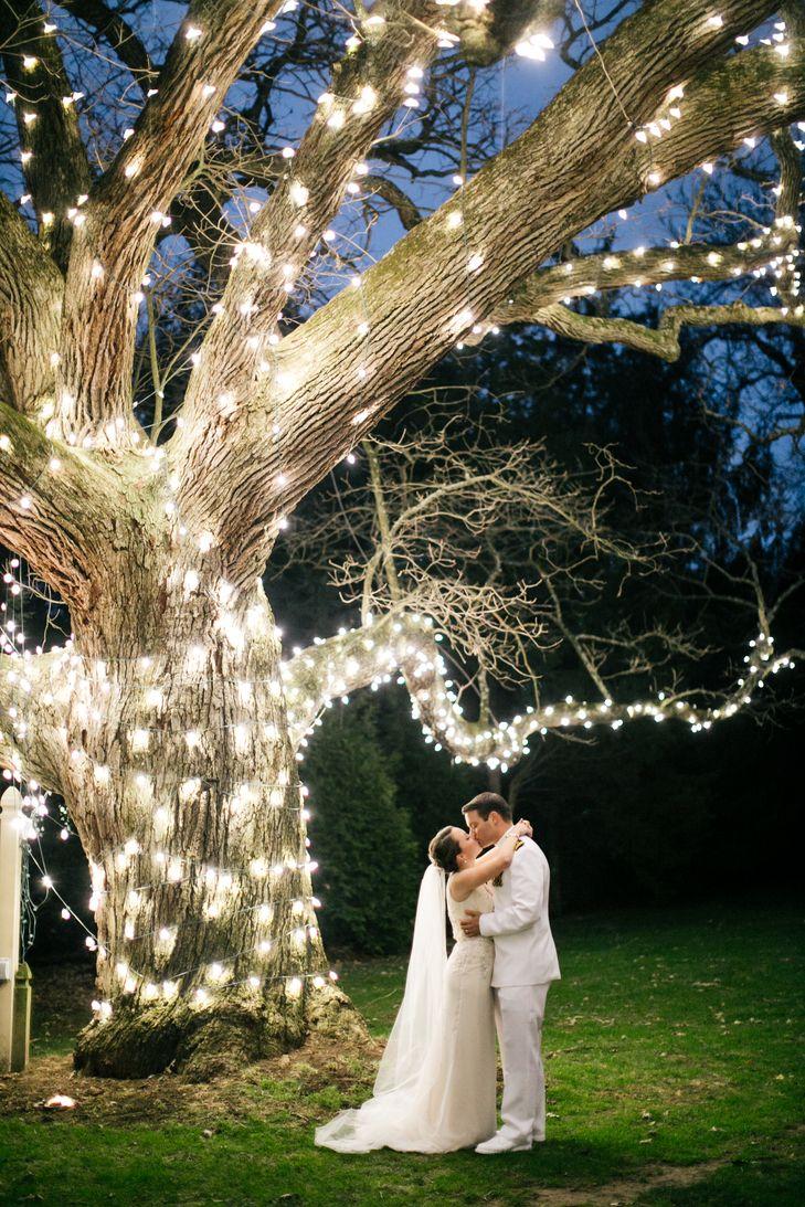 Aldie Mansion Wedding Portrait with Lights Around Tree | Emily Wren Photography https://www.theknot.com/marketplace/emily-wren-photography-philadelphia-pa-595214