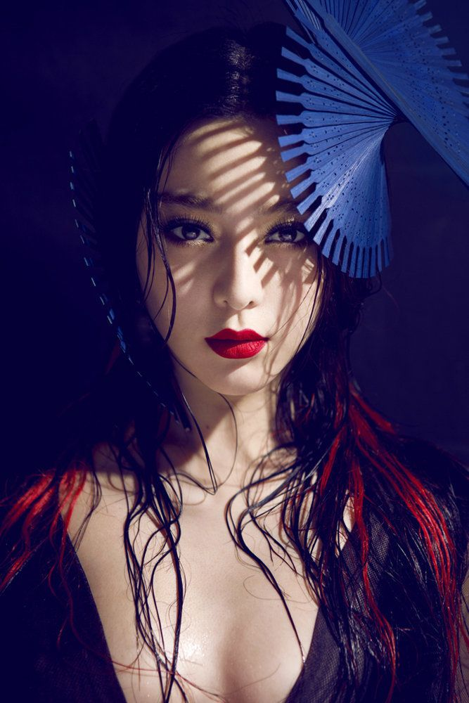 "#2 Fan Bing Bing for Madame-Figaro China 2012 This editorial interests me the most and may very well become the basis of the next part of my project. Fan Bing Bing a well renowned actor and model in China, portraying a ""traditional"" Chinese woman. Love the colours and props used in this, as well as the minimalist role in which the elements of these props/makeup play in the photo which despite the minimalism still give out a strong Easter Asian vibe."