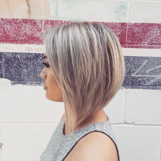 Grey/blonde inverted dramatic Bob                                                                                                                                                                                 More