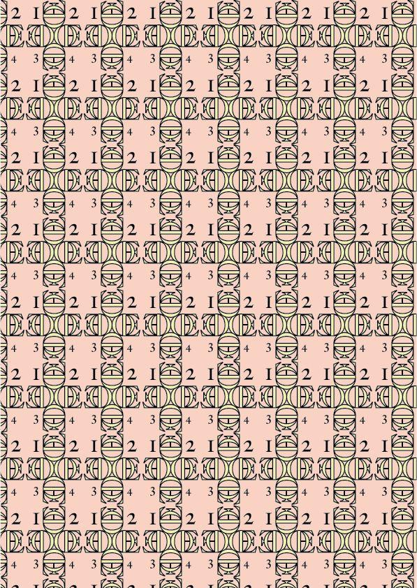 """Caslon,William Caslon 1722 """"Geometrico""""  Lettere e glifi utilizzati: E O 1 2 3 4 Big Caslon Medium  Ho utilizzato dei colori che risultassero in armonia tra di loro, facendo in  ogni caso risaltare il legame geometrico delle legature."""