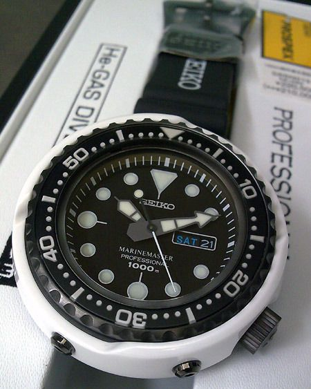 """Seiko SBBN019 """"White Dolphin"""" This is a commemorative watch for the 45th Anniversary of Seiko diver's watch and is limited to 300 pieces only."""