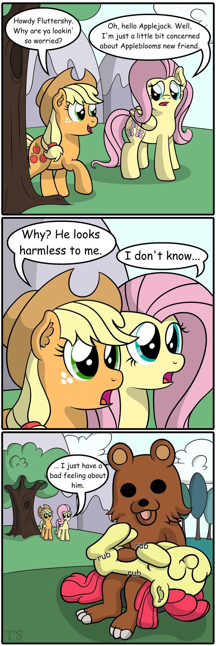 #896639 - apple bloom, applejack, artist:tobbby92, bellyrubs, comic, fluttershy, imminent rape, pedobear, safe, this will end in tears - Derpibooru - My Little Pony: Friendship is Magic Imageboard