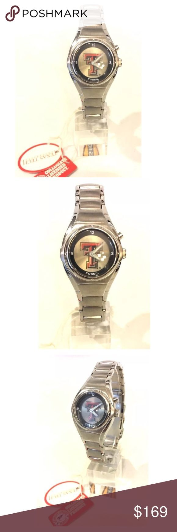 """NWT Fossil Texas Tech University Animated Watch Rare - No longer in stores!!!  New with Tags Fossil Ladies Texas Tech University """"Animated"""" Watch The face can either be plain with a black ring or have the Texas Tech logo on it. You choose by pushing a button on the side. The band is brushed silver and shiny silver. Comes in original paper shipping box. Does not come with a tin. Style number is L12386 Official licensed product. Fossil Accessories Watches"""