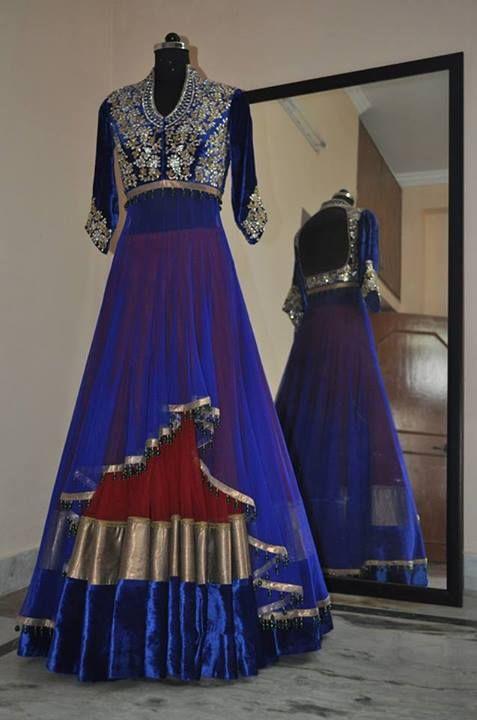 Designer blue color #anarkali