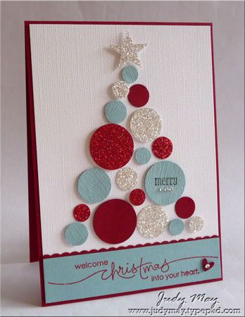Cute circle tree using Close To My Heart stamp set.Christmas Cards, Cards Ideas, Circles Trees, Stampin Up, Cards Craft, Punch Art, Circles Punch, Christmas Trees, Card Crafts
