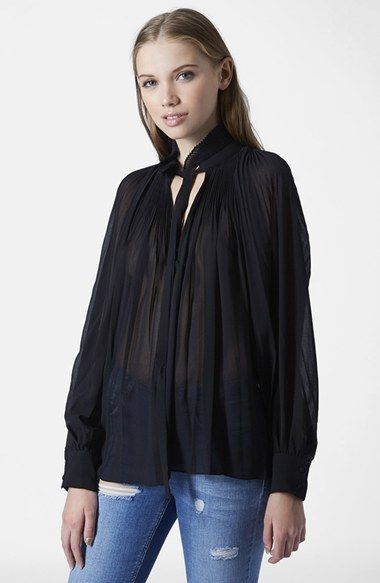 Topshop Pleated Sheer High Neck Blouse available at #Nordstrom