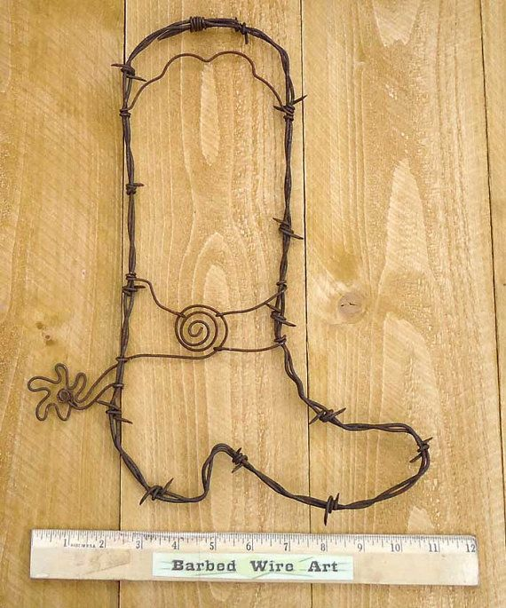 Handmade Metal Decor Barbed Wire Art Country