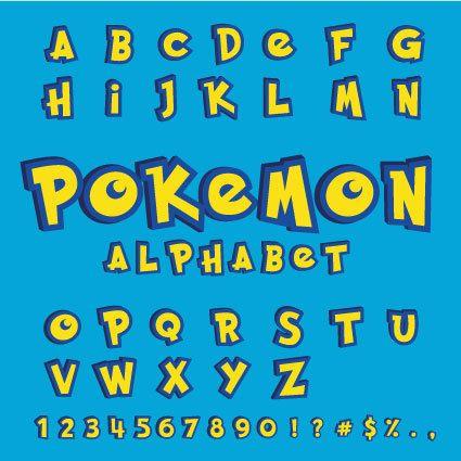 Complete Pokemon alphabet font letters numbers door DigiDoodleGoods