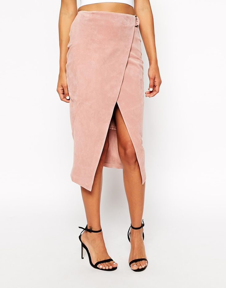 Image 4 of ASOS PETITE Wrap Pencil Skirt in Suede with D-Ring