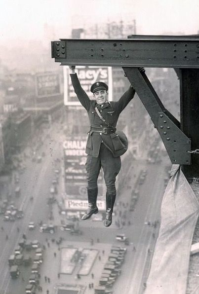 "A Police officer ""hangs out"" in Times Square, New York, 1930's."