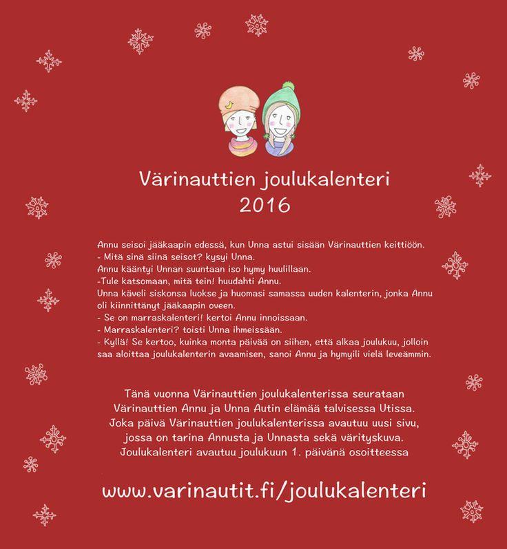 Joulukalenteri, joka päivä tarina ja värityskuva