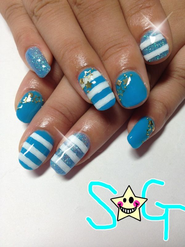 Blue and white stripped nails! So cute!!