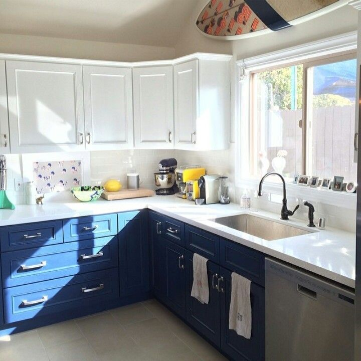 Two tone kitchen cabinets white blue house stuff for White and blue kitchen ideas