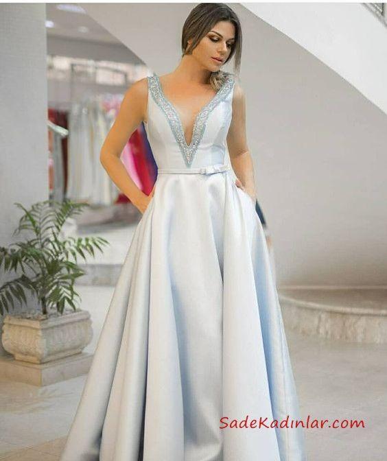 cc483b1287441 2019 Saten Elbise Modelleri Gri Uzun Derin V Yakalı Kloş Etek Cepli | Abiye  Elbise Modelleri | Elbise modelleri, Etek y Rom