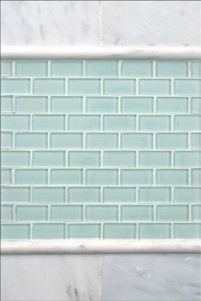 Mini subway tile in seaglass tones...great for a backsplash or shower accent!