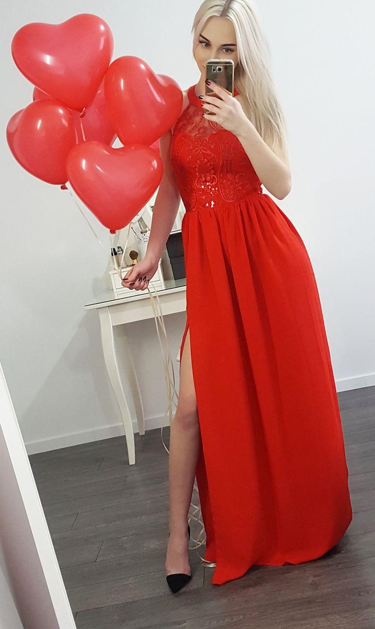 Długa czerwona suknia Olivia