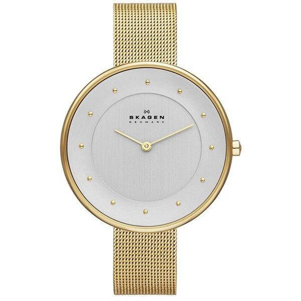 Women's Skagen 'Gitte' Round Slim Mesh Strap Watch, 38Mm ($125) ❤ liked on Polyvore featuring jewelry, watches, gold, gold wristwatches, gold wrist watch, yellow gold jewelry, gold watches and gold jewellery