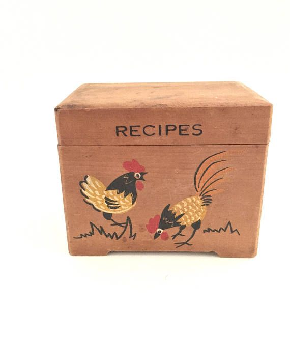 Wooden Recipe Box Vintage Chicken Roosters Index Card Holder