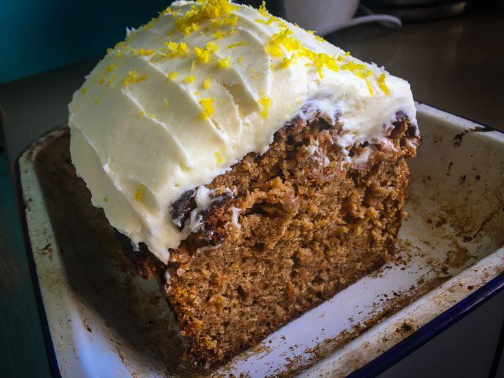 Carrot & quinoa cake with lemon mascarpone frosting