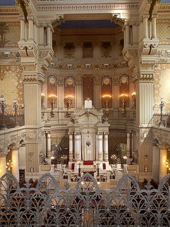 Great Synagogue of Rome interior. Astrogeographic position: in the first degrees of the conservative and defensive earth sign Capricorn indicator of government institutions and official representations together with the male fire sign Aries the sign of action and of warfare. The signs do not stand for a temple in the first place but rather the head office of the local institutions. Valid for field level 4.