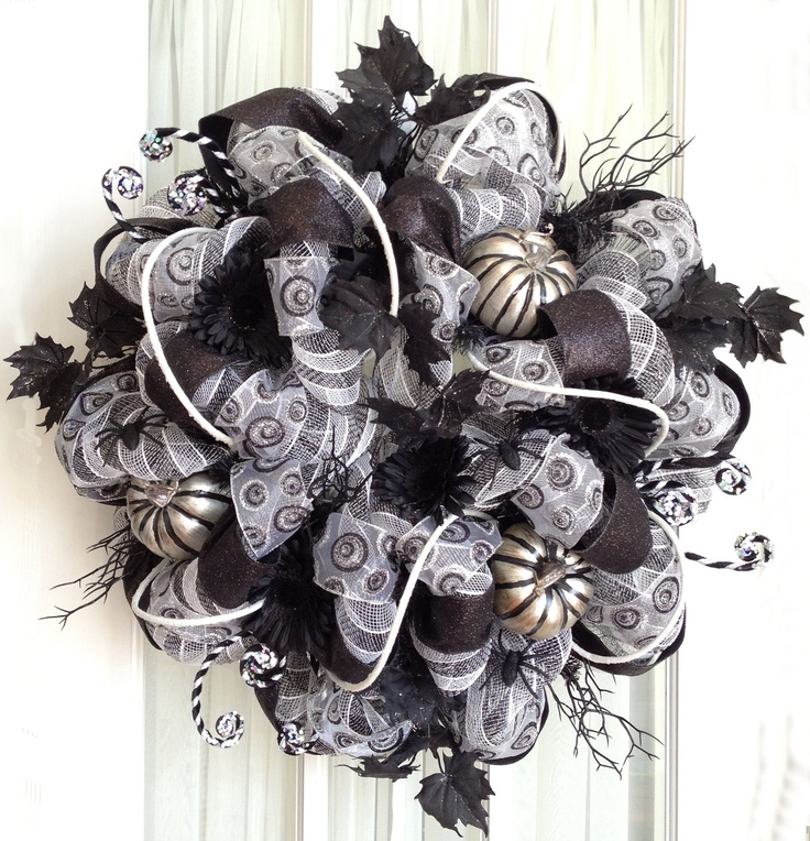 17 Best Images About Black Silver Mesh Wreaths On
